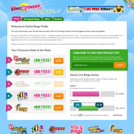 Online Bingo Finder Homepage